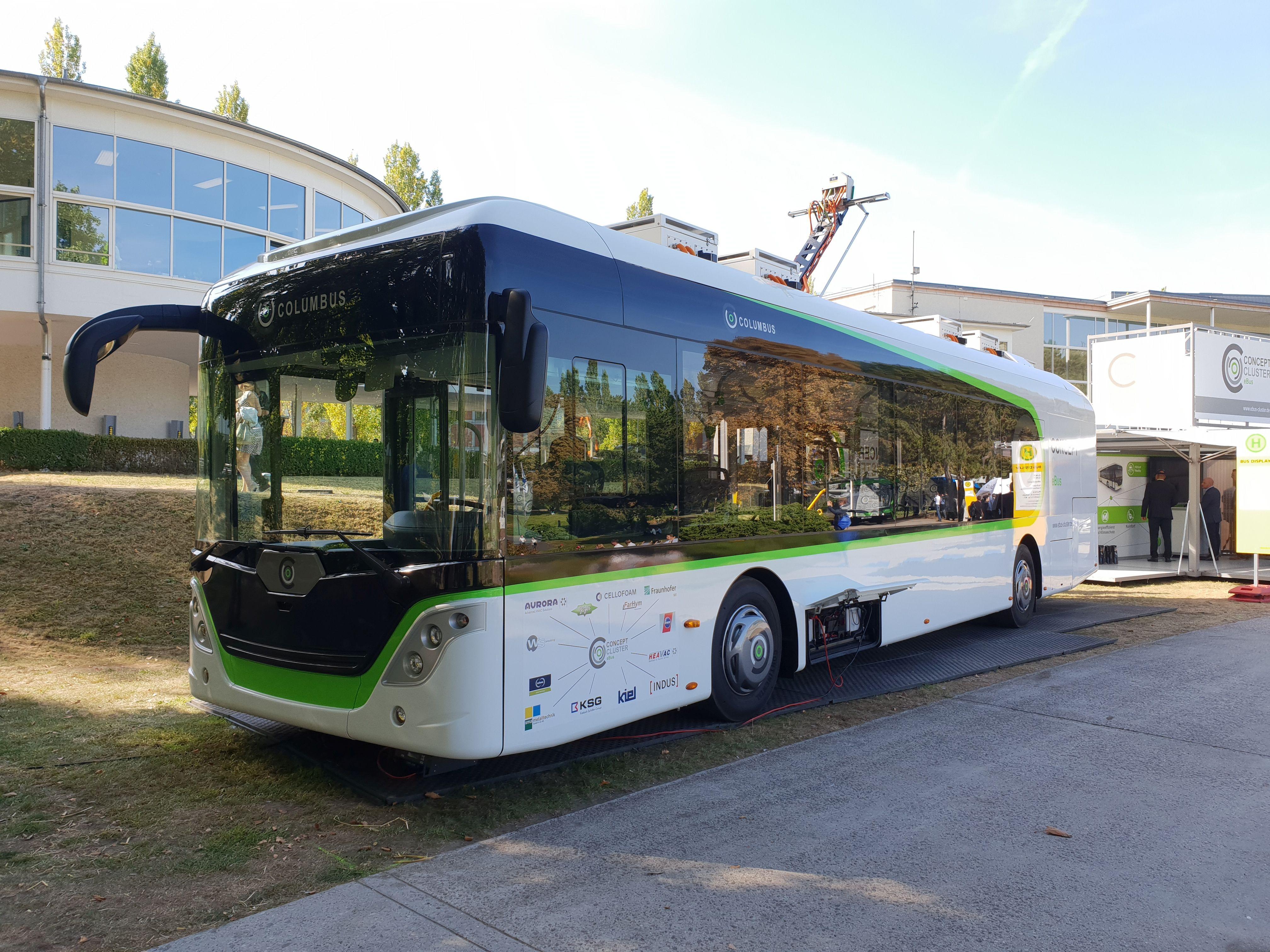 Foto: Elektrobus von Columbus auf der Berliner Innotrans 2018