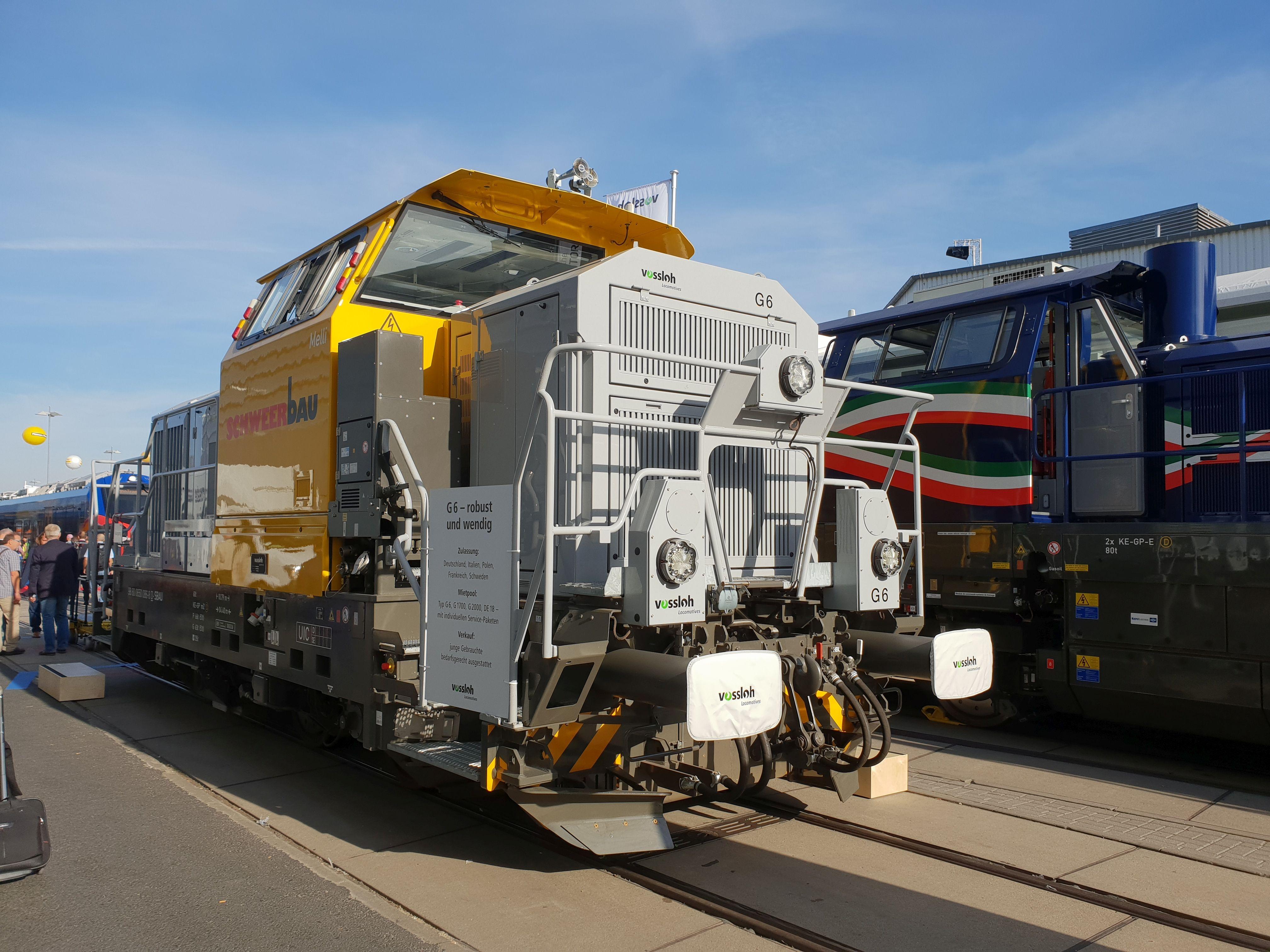 Foto: Diesellok G6 von Vossloh für Schweerbau auf der Berliner Innotrans 2018